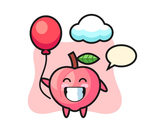 De illustratie van de perzikmascotte speelt ballon, leuk stijlontwerp voor t-shirt