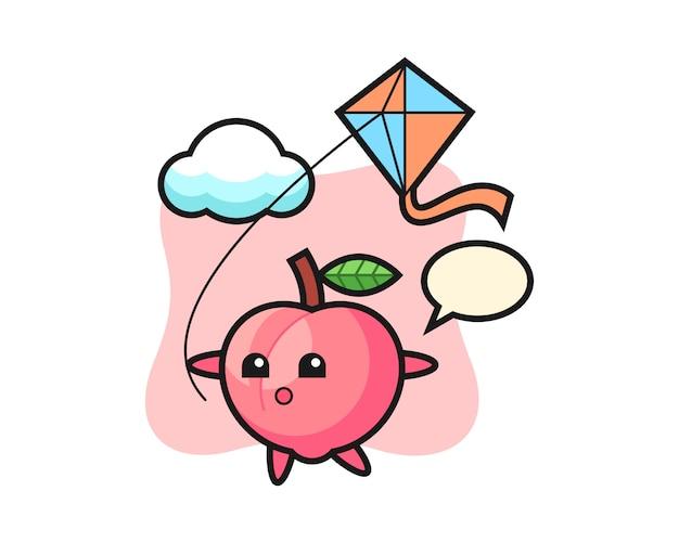 De illustratie van de perzikmascotte speelt vlieger, leuk stijlontwerp voor t-shirt