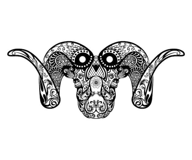 De illustratie van de prachtige geit met twee hoorns vol bloem ornament