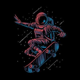 De illustratie van de skateboardende astronaut