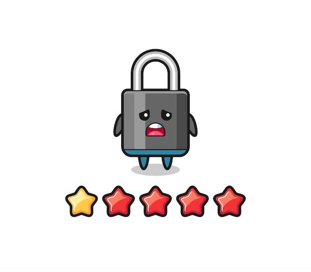 De illustratie van de slechte beoordeling van de klant, hangslot schattig karakter met 1 ster, schattig stijlontwerp voor t-shirt, sticker, logo-element