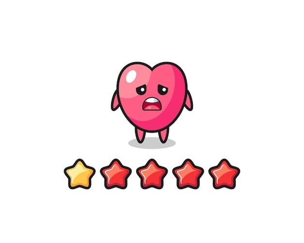 De illustratie van de slechte beoordeling van de klant, hartsymbool schattig karakter met 1 ster, schattig stijlontwerp voor t-shirt, sticker, logo-element