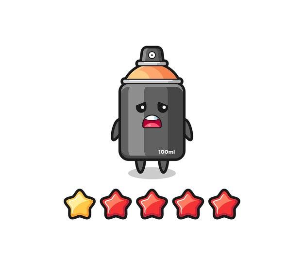 De illustratie van de slechte beoordeling van de klant, spuitverf schattig karakter met 1 ster, schattig stijlontwerp voor t-shirt, sticker, logo-element