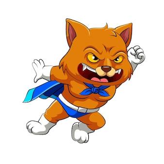 De illustratie van de superkat met de blauwe mantel en witte handschoenen poseert met de vechthouding