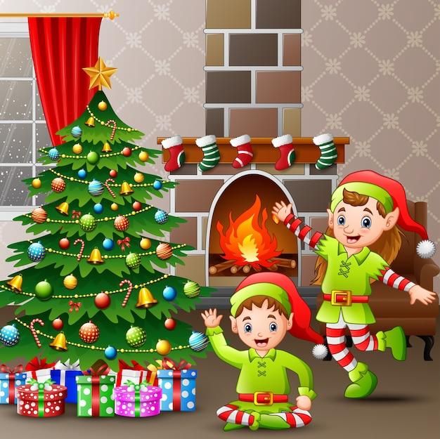 De illustratie van de twee elf vieren kerstmis thuis