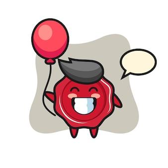 De illustratie van de zegelwasmascotte speelt ballon