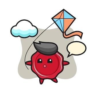 De illustratie van de zegelwasmascotte speelt vlieger