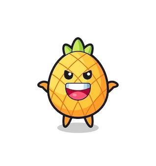 De illustratie van een schattige ananas die een schrikgebaar doet, een schattig stijlontwerp voor een t-shirt, sticker, logo-element