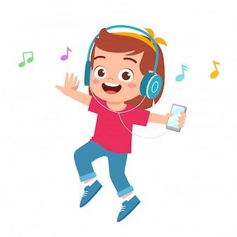 De illustratie van gelukkig leuk meisje luistert naar muziek