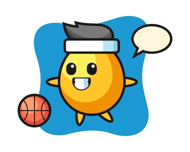 De illustratie van gouden eibeeldverhaal speelt basketbal, leuk stijlontwerp
