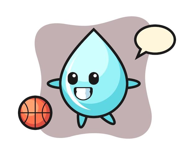 De illustratie van het beeldverhaal van de waterdaling speelt basketbal, leuk stijlontwerp voor t-shirt
