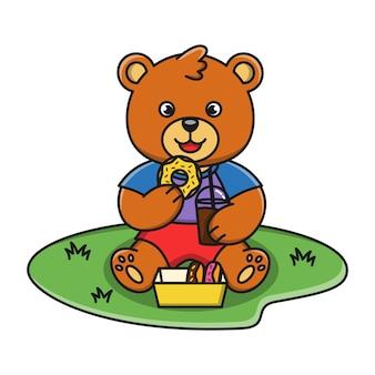 De illustratie van het beeldverhaal van een beer die een doughnut eet