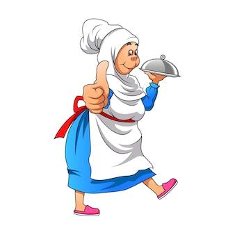 De illustratie van het dikke meisje dat de zilveren schaal vasthoudt ter inspiratie van het restaurantlogo