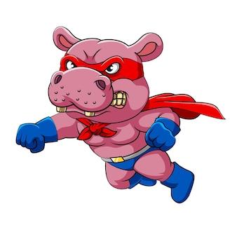 De illustratie van het grote nijlpaard dat een rood masker met vliegende houding draagt