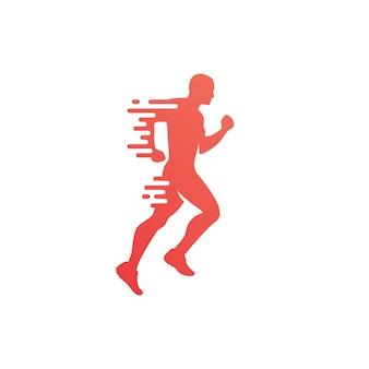 De illustratie van het het embleem vectorpictogram van de looppas lopende joggende lopende mens