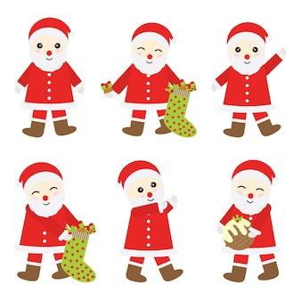De illustratie van het kerstmisbeeldverhaal met de kerstman stelt sticker vastgesteld ontwerp