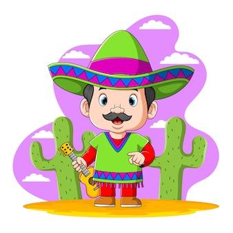 De illustratie van het mexicaanse volk met groen overhemd