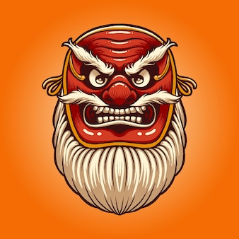 De illustratie van het rode tengu-masker