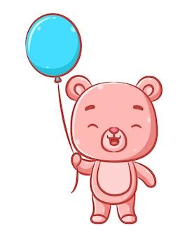 De illustratie van het schattige roze beerontwerp met het grote hoofd en het gelukkige gezicht houdt de blauwe ballon vast