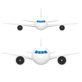De illustratie van het vliegtuig vooraanzicht op witte achtergrond
