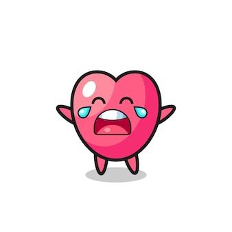 De illustratie van huilende hartsymbool schattige baby, schattig stijlontwerp voor t-shirt, sticker, logo-element