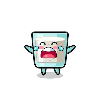 De illustratie van huilende melk schattige baby, schattig stijlontwerp voor t-shirt, sticker, logo-element