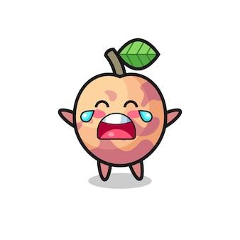 De illustratie van huilende pluot fruit schattige baby, schattig stijlontwerp voor t-shirt, sticker, logo-element