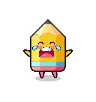 De illustratie van huilende potlood schattige baby, schattig stijlontwerp voor t-shirt, sticker, logo-element