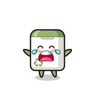 De illustratie van huilende prullenbak schattige baby, schattig stijlontwerp voor t-shirt, sticker, logo-element