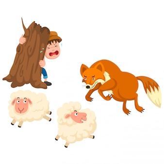De illustratie van isoleerde het sprookje van de herdersjongen