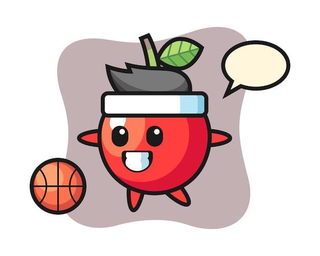 De illustratie van kersenbeeldverhaal speelt basketbal, leuk stijlontwerp