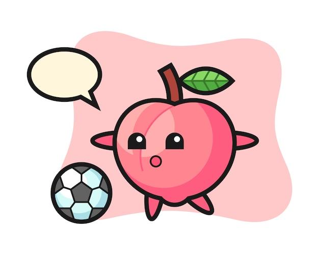 De illustratie van perzikbeeldverhaal speelt voetbal, leuk stijlontwerp voor t-shirt