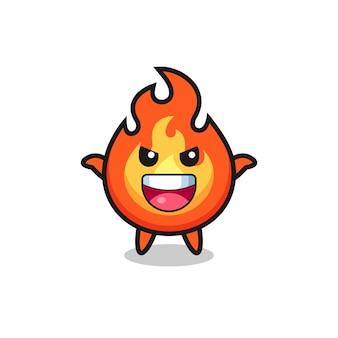 De illustratie van schattig vuur dat schrikgebaar doet, schattig stijlontwerp voor t-shirt, sticker, logo-element,