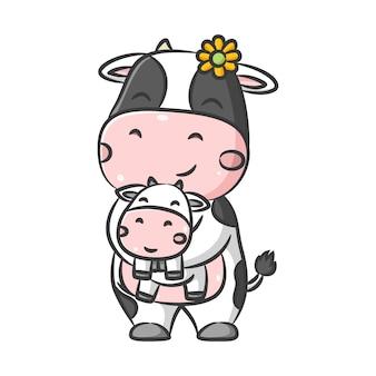 De illustratie van schattige grote koe met de kleine zonnebloem speelt samen met de kleine babykoe
