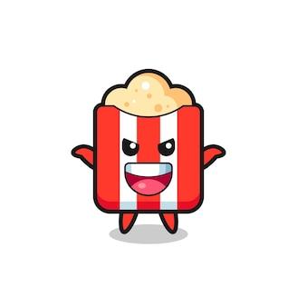 De illustratie van schattige popcorn die een schrikgebaar doet, een schattig stijlontwerp voor een t-shirt, sticker, logo-element
