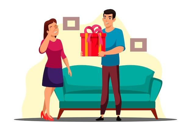 De illustratie van verrassing geeft giftscène met jongen en meisje