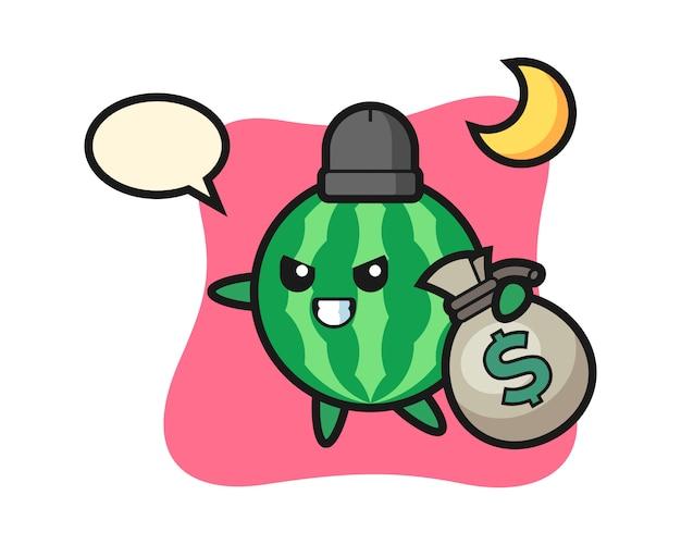 De illustratie van watermeloenbeeldverhaal wordt het geld gestolen