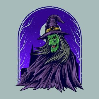 De illustratiekunstwerk van de heks met de nacht van het tovenaarskasteel