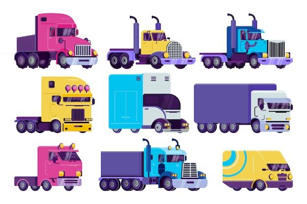 De illustratiereeks van de beeldverhaalvrachtwagen, vlakke semi autotruck, bestelwagen, vrachtwagen en zwaar voertuig voor leveringspictogrammen die op wit worden geïsoleerd