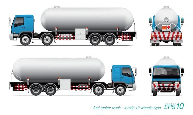 De illustratiereeks van de brandstoftankwagen