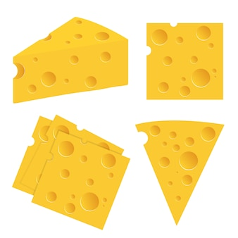 De illustratiereeks van de kaas die op wit wordt geïsoleerd
