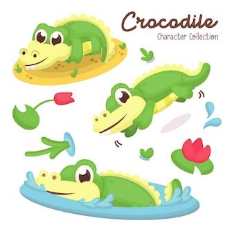 De illustratiereeks van leuke krokodil stelt met beeldverhaalstijl