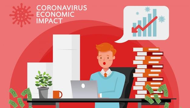 De impact van coronavirus op de beurs en de wereldeconomie. zakenman. no2