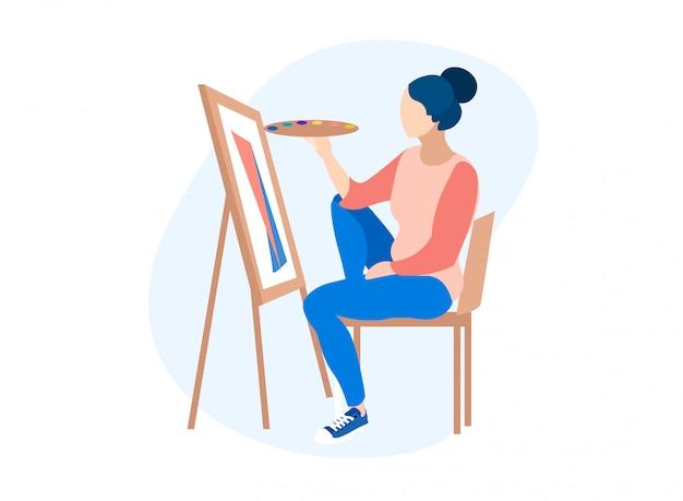 De in hand tekening van holding palette van de vrouwenkunstenaar.