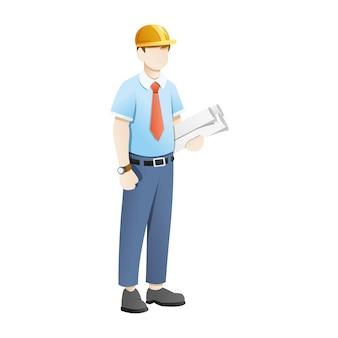 De ingenieur draagt blauwdrukbladen op witte achtergrond