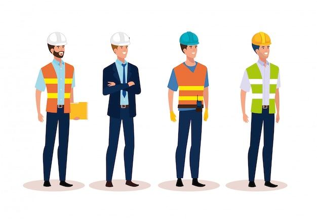 De ingenieursmensen groeperen zich met veilige helm