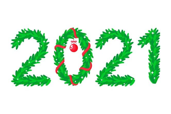 de inscriptie 2021, de cijfers zijn afgebeeld in de vorm van een kerstboom en krans. gelukkig nieuwjaar 2021.