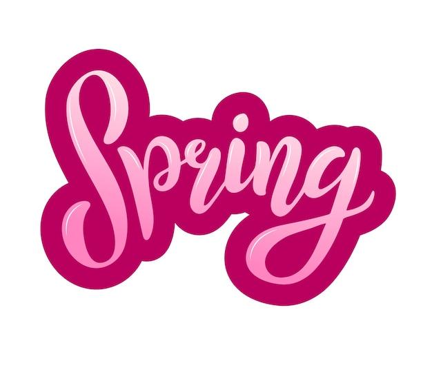 De inscriptie lente. moderne penseelkalligrafie, belettering. hand getrokken ontwerpelementen. logo's en emblemen voor uitnodiging, wenskaart, t-shirt, prenten en posters. vector illustratie.