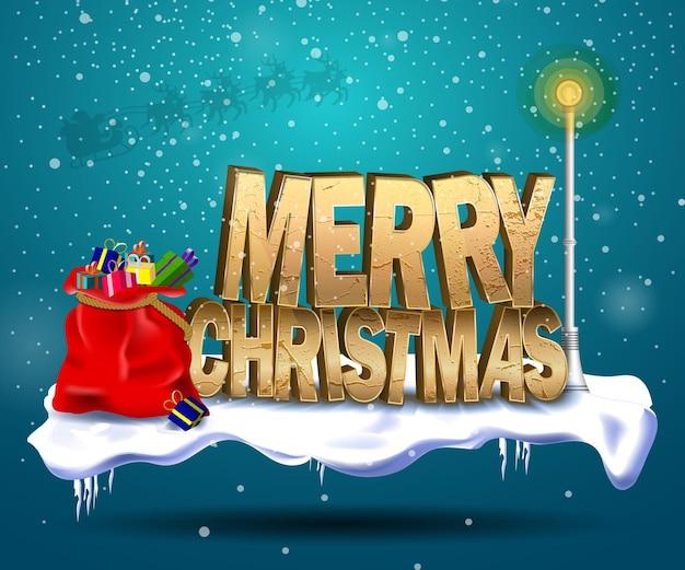De inscriptie op kerstmis die in de sneeuw staat naast een gloeiende lamp en een kersttas