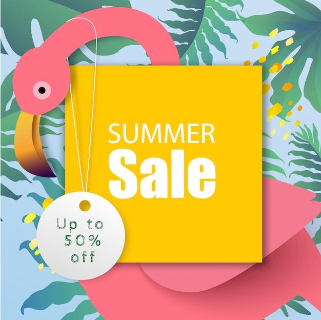De inscriptie zomer verkoop in aquarel met roze flamingo en tropische plant banner